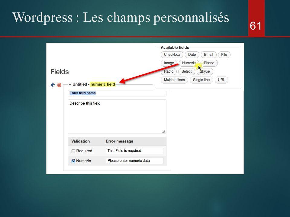 61 Wordpress : Les champs personnalisés