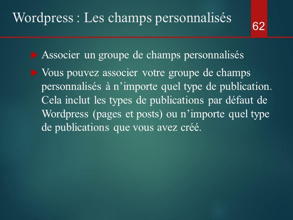 62 Wordpress : Les champs personnalisés  Associer un groupe de champs personnalisés  Vous pouvez associer votre groupe de champs personnalisés à n'importe quel type de publication.
