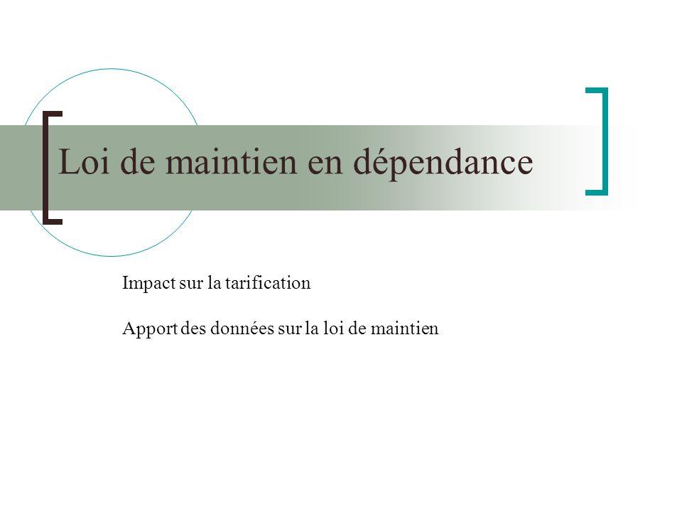 Loi de maintien en dépendance Impact sur la tarification Apport des données sur la loi de maintien