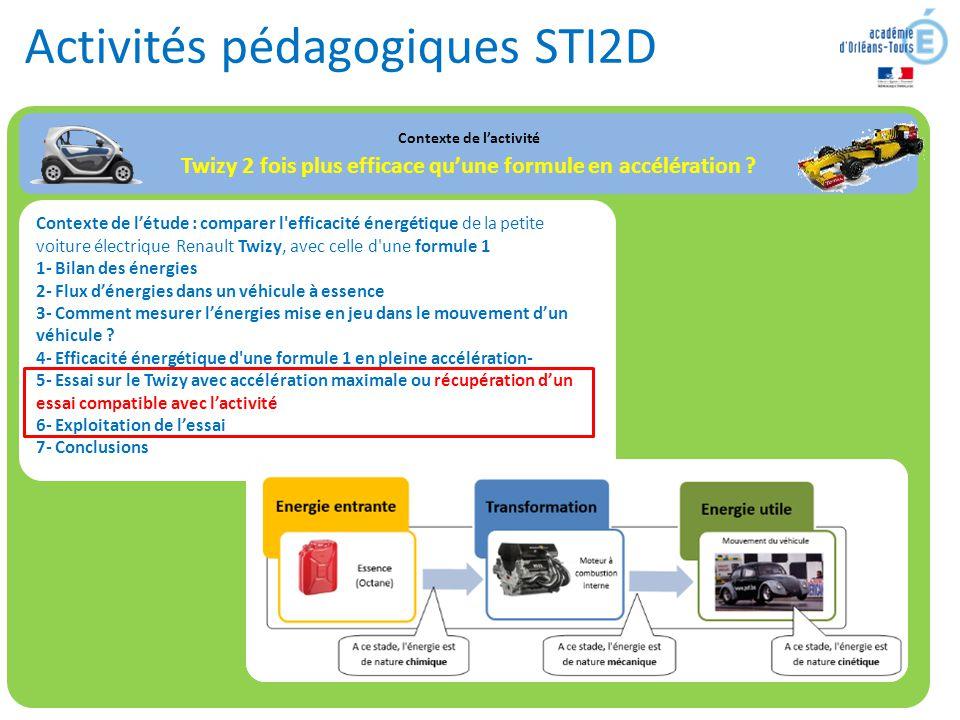 Activités pédagogiques STI2D Contexte de l'activité Twizy 2 fois plus efficace qu'une formule en accélération ? Contexte de l'étude : comparer l'effic