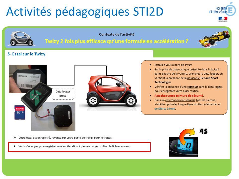 Activités pédagogiques STI2D Contexte de l'activité Twizy 2 fois plus efficace qu'une formule en accélération ? 5- Essai sur le Twizy