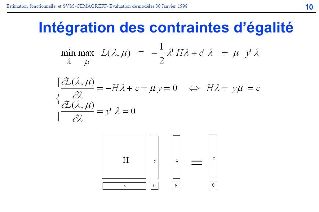 10 Estimation fonctionnelle et SVM -CEMAGREFF- Evaluation de modèles 30 Janvier 1998 Intégration des contraintes d'égalité 0 0 = H c y y 