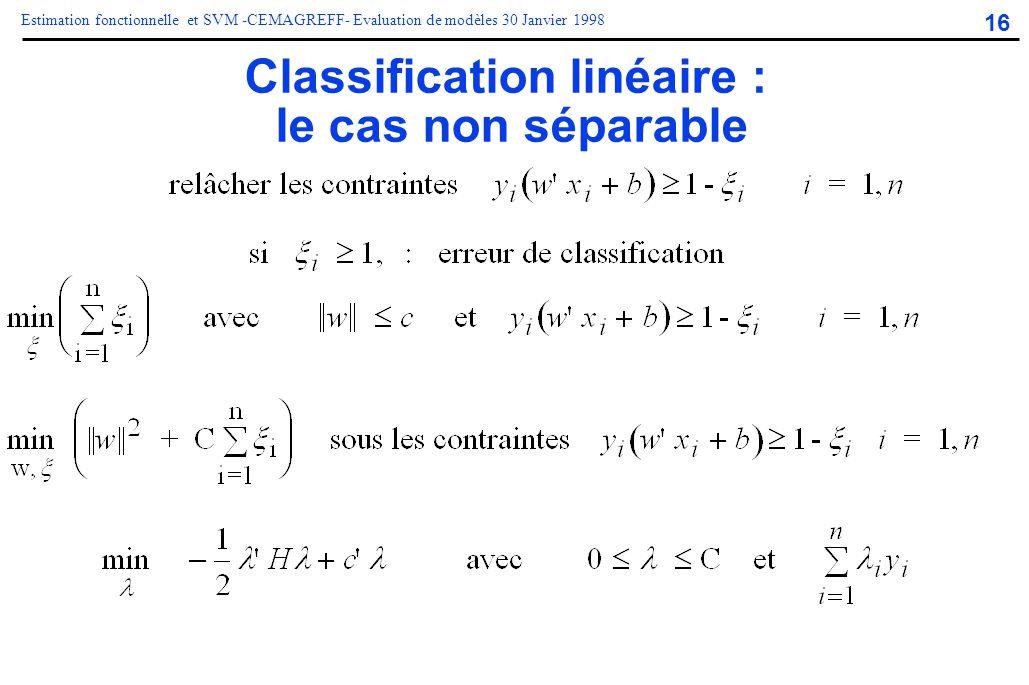 16 Estimation fonctionnelle et SVM -CEMAGREFF- Evaluation de modèles 30 Janvier 1998 Classification linéaire : le cas non séparable