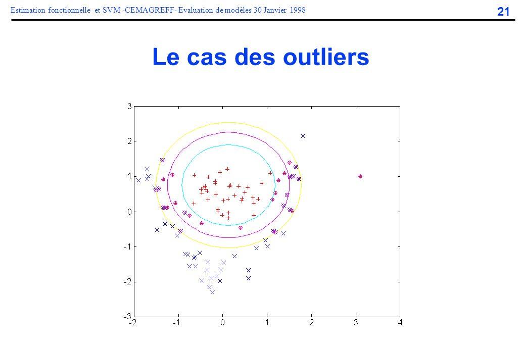 21 Estimation fonctionnelle et SVM -CEMAGREFF- Evaluation de modèles 30 Janvier 1998 Le cas des outliers