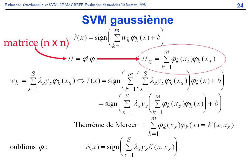 24 Estimation fonctionnelle et SVM -CEMAGREFF- Evaluation de modèles 30 Janvier 1998 SVM gaussiènne matrice (n x n)