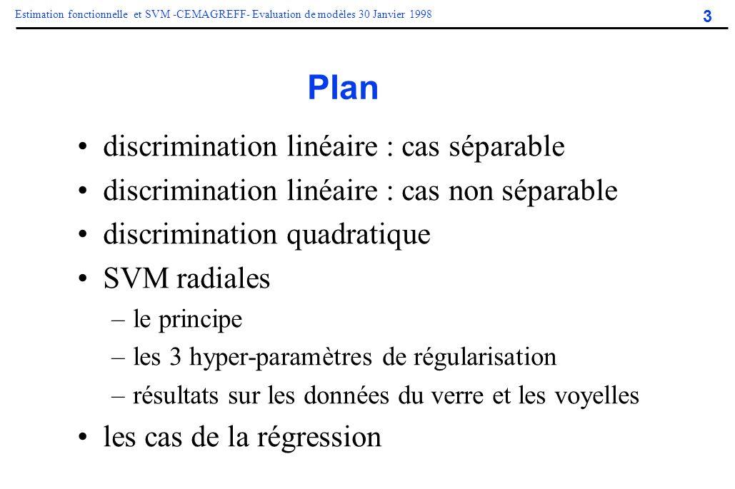 3 Estimation fonctionnelle et SVM -CEMAGREFF- Evaluation de modèles 30 Janvier 1998 Plan discrimination linéaire : cas séparable discrimination linéai