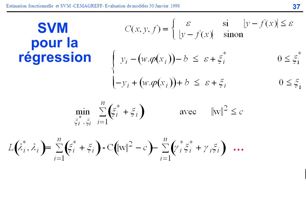 37 Estimation fonctionnelle et SVM -CEMAGREFF- Evaluation de modèles 30 Janvier 1998 SVM pour la régression...