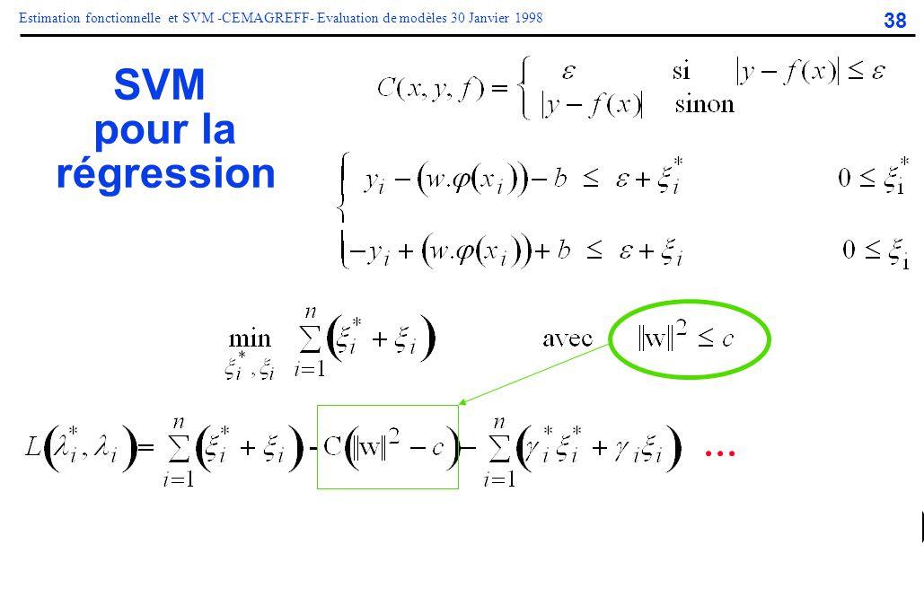 38 Estimation fonctionnelle et SVM -CEMAGREFF- Evaluation de modèles 30 Janvier 1998 SVM pour la régression...