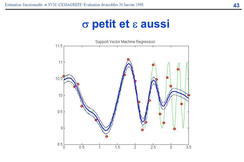 43 Estimation fonctionnelle et SVM -CEMAGREFF- Evaluation de modèles 30 Janvier 1998  petit et  aussi