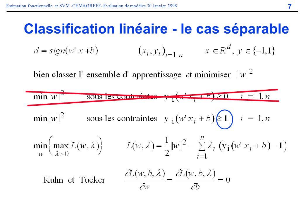 7 Estimation fonctionnelle et SVM -CEMAGREFF- Evaluation de modèles 30 Janvier 1998 Classification linéaire - le cas séparable