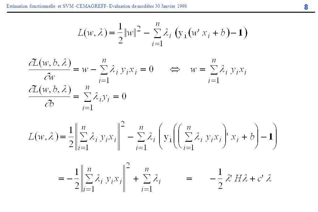 8 Estimation fonctionnelle et SVM -CEMAGREFF- Evaluation de modèles 30 Janvier 1998 Classification linéaire le cas séparable