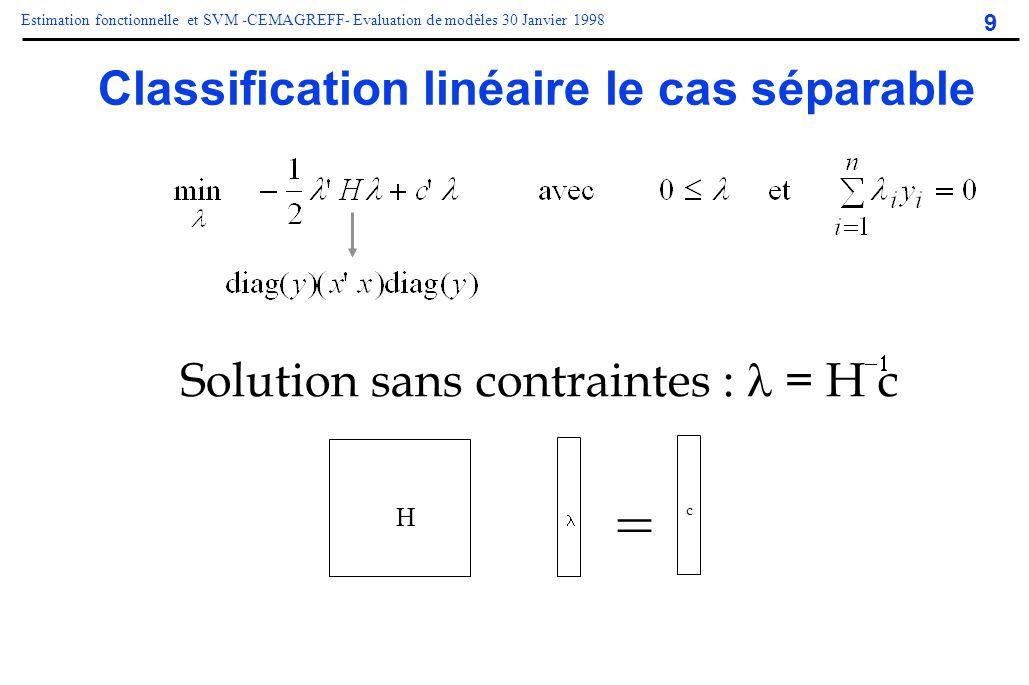 9 Estimation fonctionnelle et SVM -CEMAGREFF- Evaluation de modèles 30 Janvier 1998 Classification linéaire le cas séparable = H c Solution sans contr