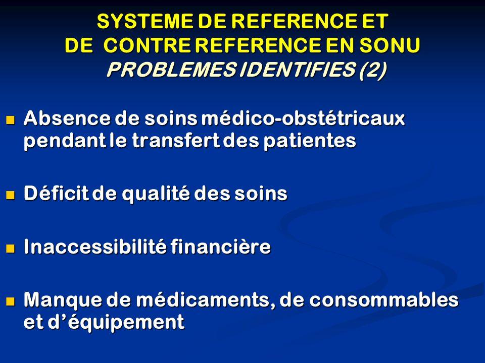 SYSTEME DE REFERENCE ET DE CONTRE REFERENCE EN SONU PROBLEMES IDENTIFIES (2) Absence de soins médico-obstétricaux pendant le transfert des patientes A