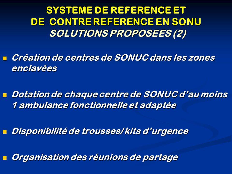 SYSTEME DE REFERENCE ET DE CONTRE REFERENCE EN SONU SOLUTIONS PROPOSEES (2) Création de centres de SONUC dans les zones enclavées Création de centres