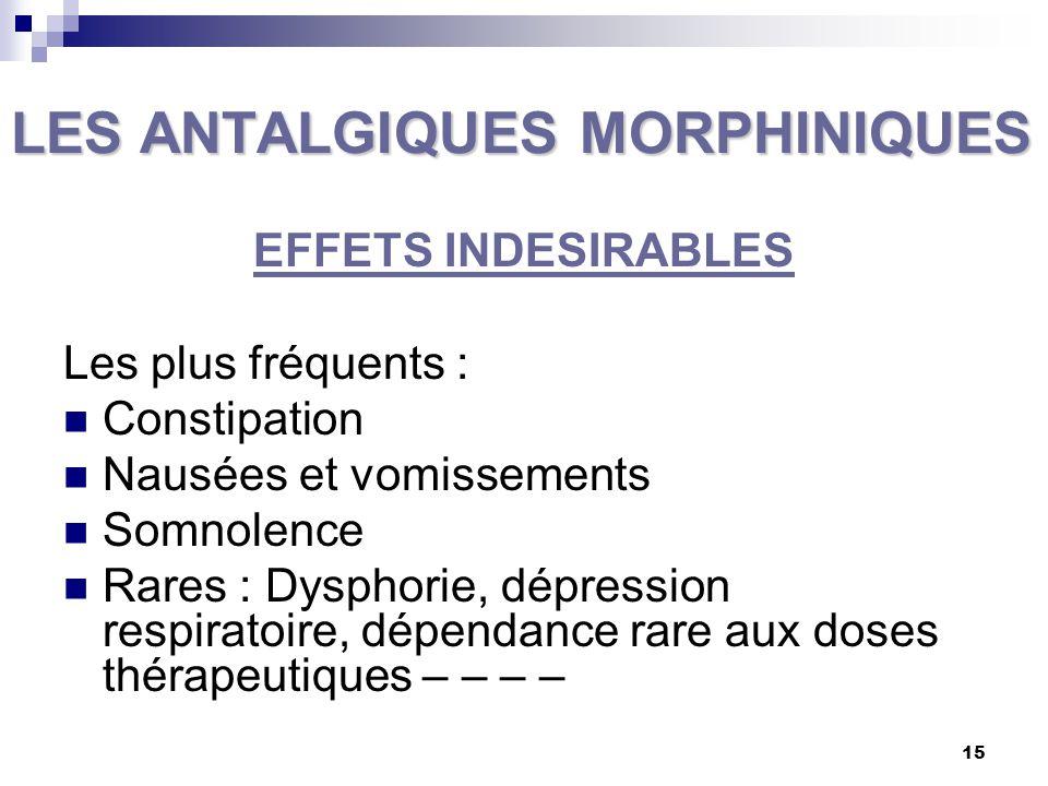 16 LES ANTALGIQUES DU PALIER II LES ANTALGIQUES CENTRAUX FAIBLES Ils sont représentés : La codéine ou méthylmorphine le dextropropoxyphène (sera supprimé d'ici 15 mois/SMR/décès), et le tramadol.