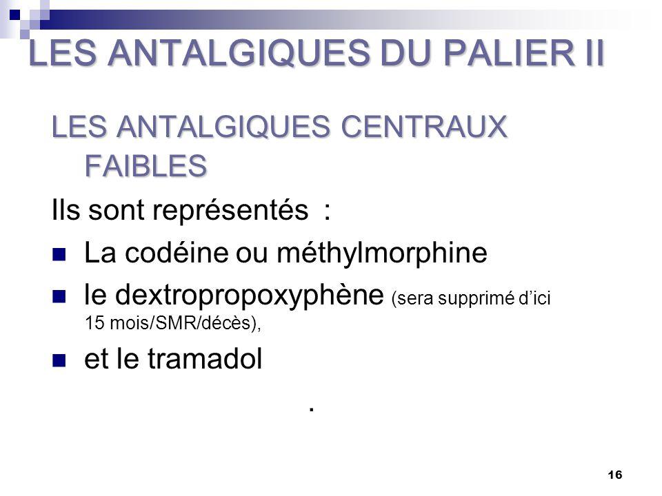 17 LA CODEINE Ou méthylmorphine : analgésique central d'activité plus modeste que la morphine mais présentant moins d'effet dépresseur respiratoire ou toxicomagène.