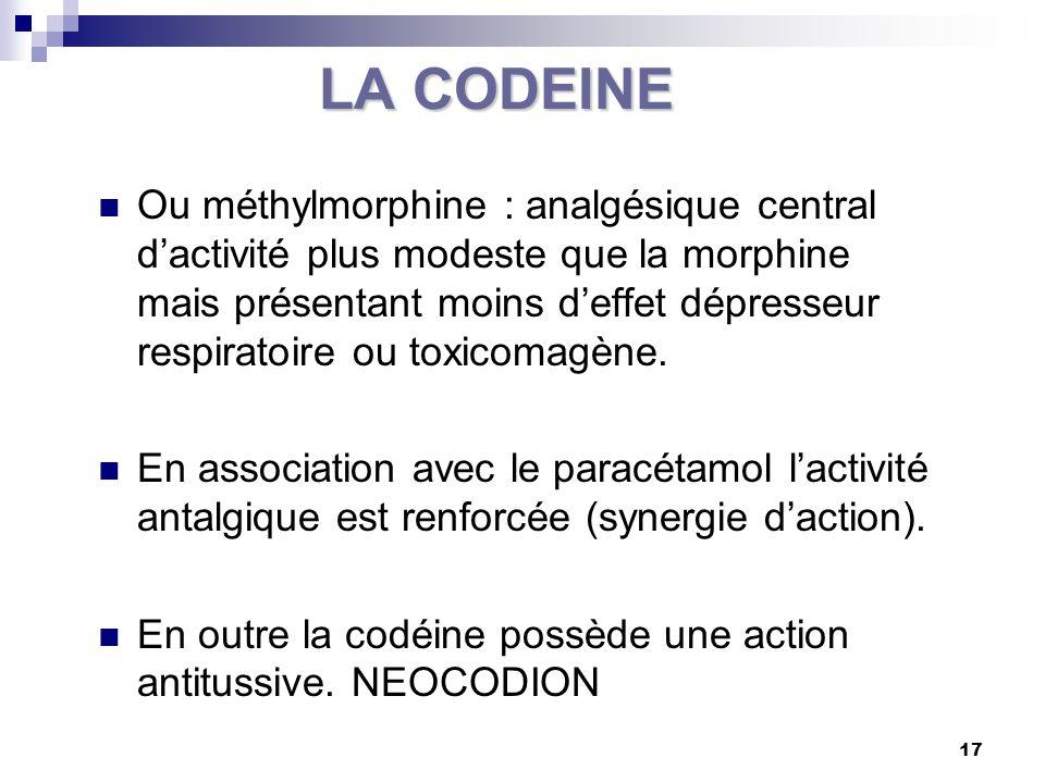 18 LA CODEINE Voie orale : DAFALGAN ® CODEINE… Chez l'enfant : CODENFAN ® C.I : HS - IR – asthme - enfant < 1an - grossesse – allaitement IAM : Agoniste - antagoniste morphinique (nalbuphine, buprénorphine) - autres analgésiques morphiniques agonistes – BZD – antitussif – alcool Respecter les DM en cas d'association avec d'autres molécules : Enfant DM codéine : 1mg/kg/ et 6mg/kg/24 heures Intervalles de prise : 4 à 6 heures