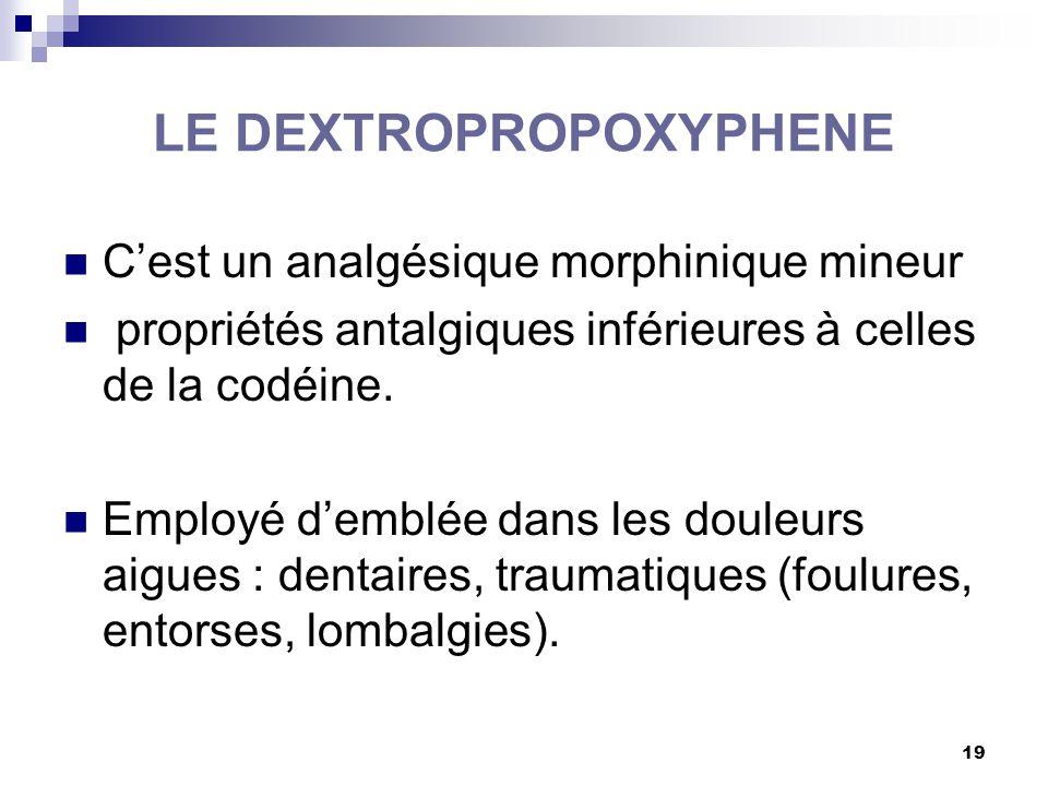 20 LE DEXTROPROPOXYPHENE Voies orale et rectale : DIANTALVIC ® PROPOFAN ® … Chez l'enfant : CODENFAN ® C.I : HS – IH – IRénale – toxicomanes - grossesse – allaitement enfant < 15 ans (+celles du paracétamol) IAM : idem codéine Respecter les DM en cas d'association avec d'autres molecules Intervalles de prise : 4 à 6 heures