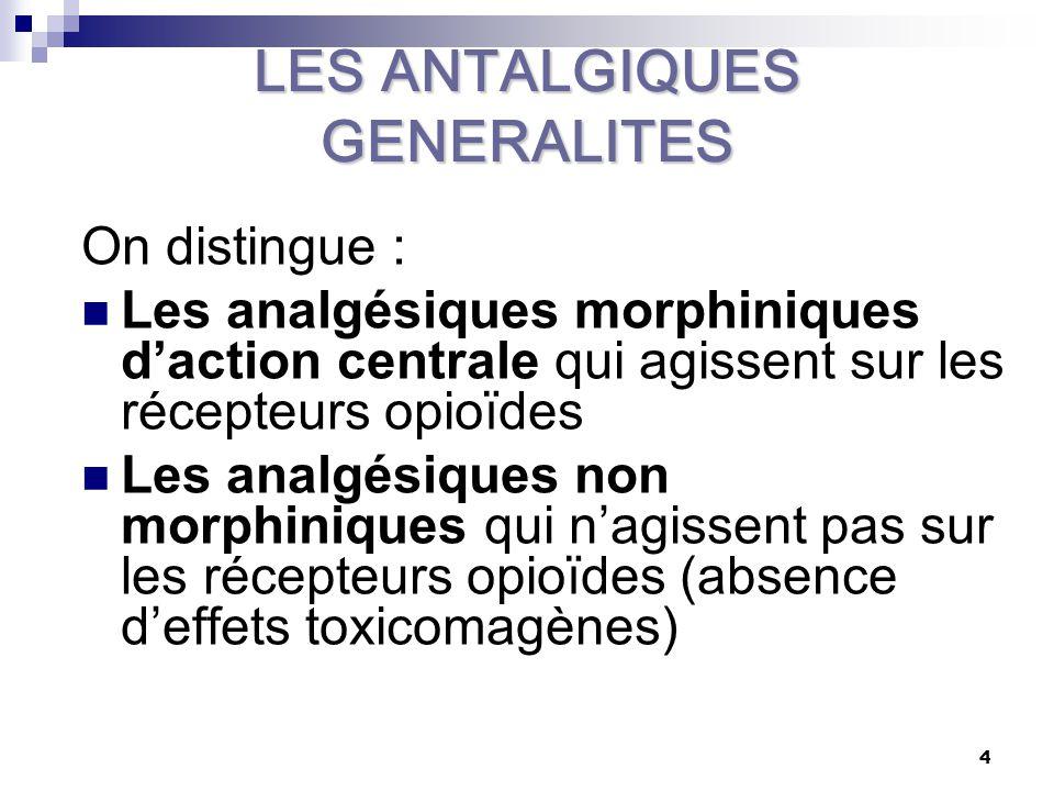 5 ADJUVANTS OU COANALGESIQUES Plusieurs familles pharmacologiques peuvent être utilisées comme adjuvants au pouvoir limité: LES ANTIDEPRESSEURS TRICYCLIQUES : LES AINS LES GLUCOCORTICOÏDES LES TRANQUILISANTS et les NEUROLEPTIQUES et les BENZODIAZEPINES LES ANTISPASMODIQUES MUSCULOTROPES LES ANTIEPILEPTIQUES