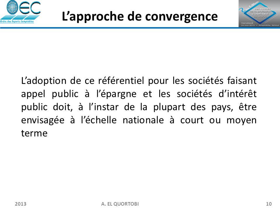 2013 A. EL QUORTOBI10 L'adoption de ce référentiel pour les sociétés faisant appel public à l'épargne et les sociétés d'intérêt public doit, à l'insta
