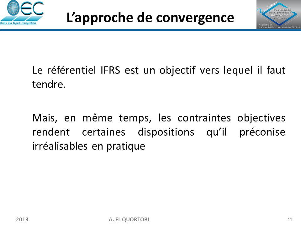 2013 A. EL QUORTOBI 11 Le référentiel IFRS est un objectif vers lequel il faut tendre. Mais, en même temps, les contraintes objectives rendent certain
