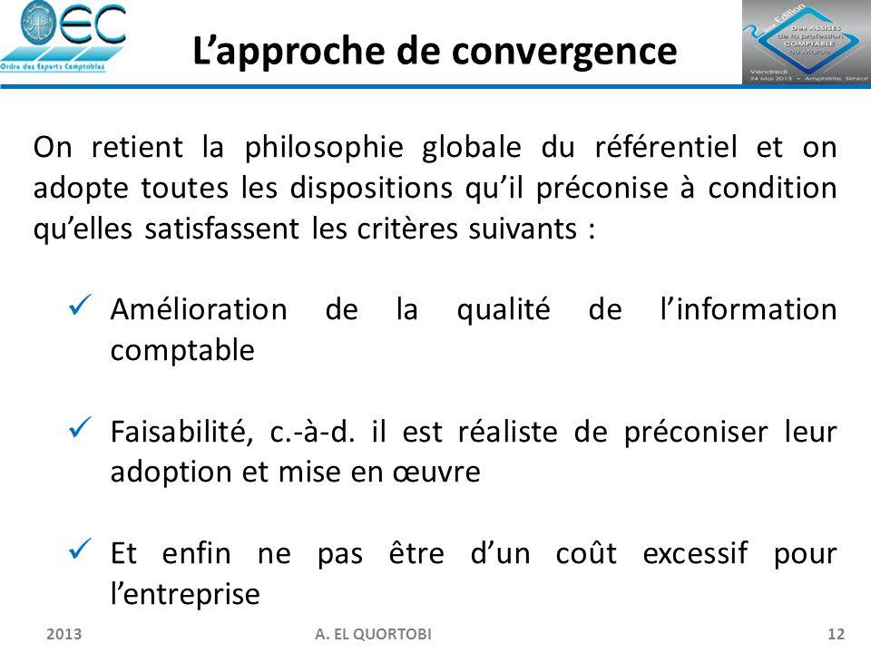 2013 A. EL QUORTOBI12 On retient la philosophie globale du référentiel et on adopte toutes les dispositions qu'il préconise à condition qu'elles satis