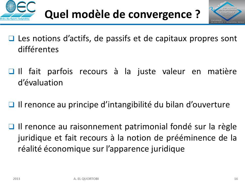 2013 A. EL QUORTOBI16  Les notions d'actifs, de passifs et de capitaux propres sont différentes  Il fait parfois recours à la juste valeur en matièr