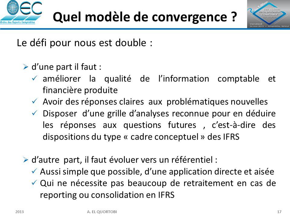 2013 A. EL QUORTOBI17 Le défi pour nous est double :  d'une part il faut : améliorer la qualité de l'information comptable et financière produite Avo