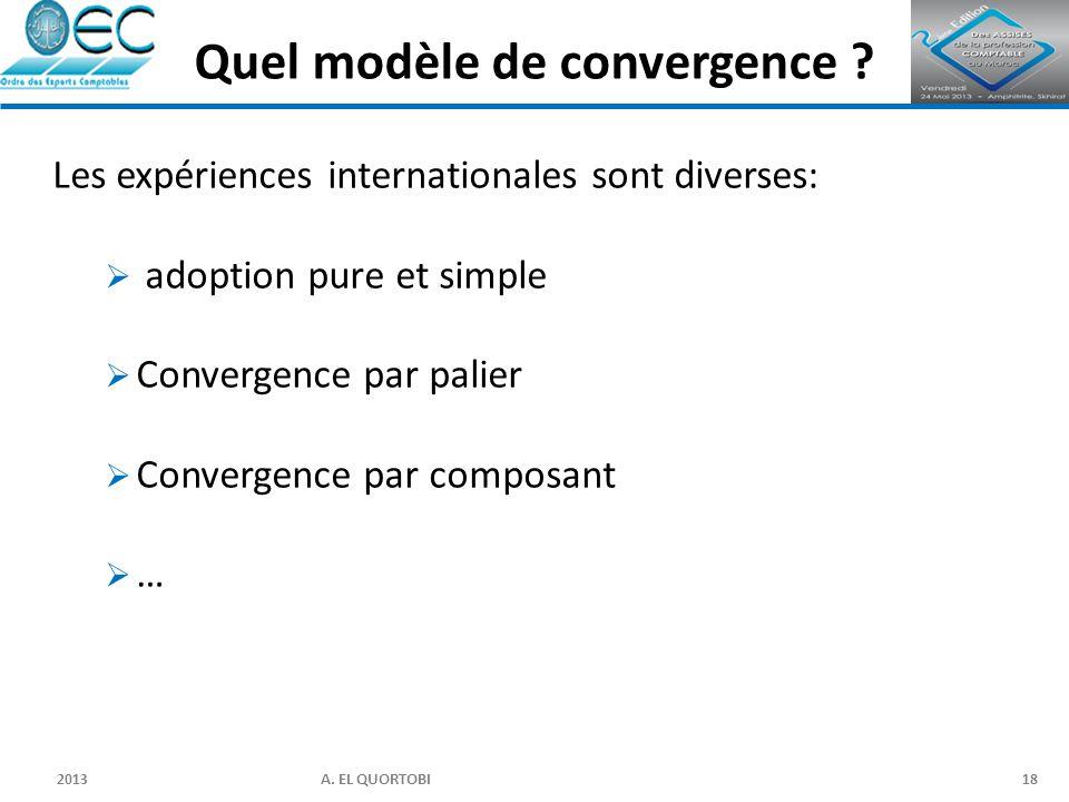 2013 A. EL QUORTOBI18 Les expériences internationales sont diverses:  adoption pure et simple  Convergence par palier  Convergence par composant 