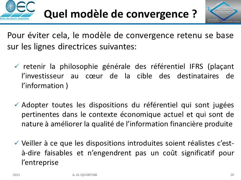 2013 A. EL QUORTOBI20 Pour éviter cela, le modèle de convergence retenu se base sur les lignes directrices suivantes: retenir la philosophie générale