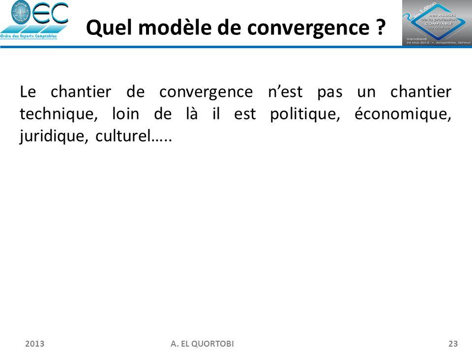 2013 A. EL QUORTOBI23 Le chantier de convergence n'est pas un chantier technique, loin de là il est politique, économique, juridique, culturel….. Quel