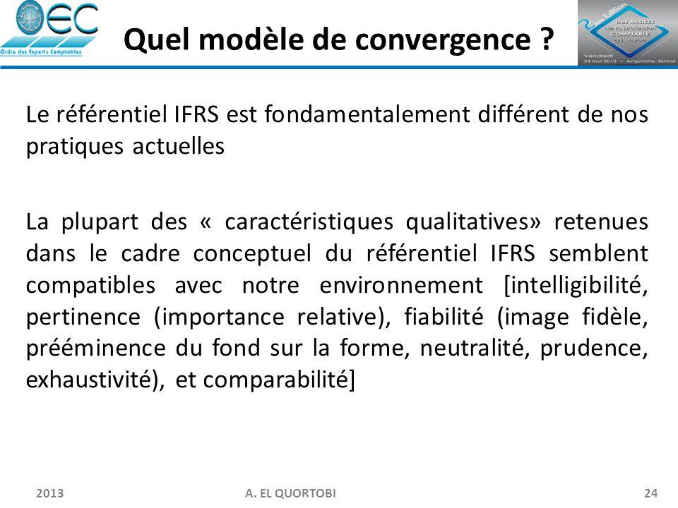 2013 A. EL QUORTOBI24 Le référentiel IFRS est fondamentalement différent de nos pratiques actuelles La plupart des « caractéristiques qualitatives» re