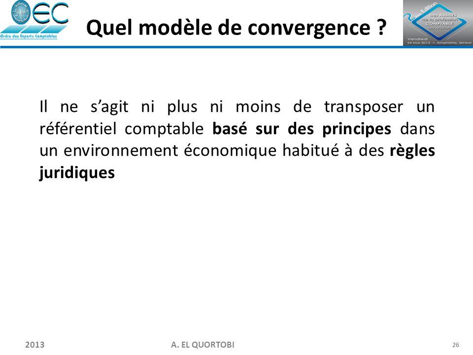 2013 A. EL QUORTOBI 26 Il ne s'agit ni plus ni moins de transposer un référentiel comptable basé sur des principes dans un environnement économique ha