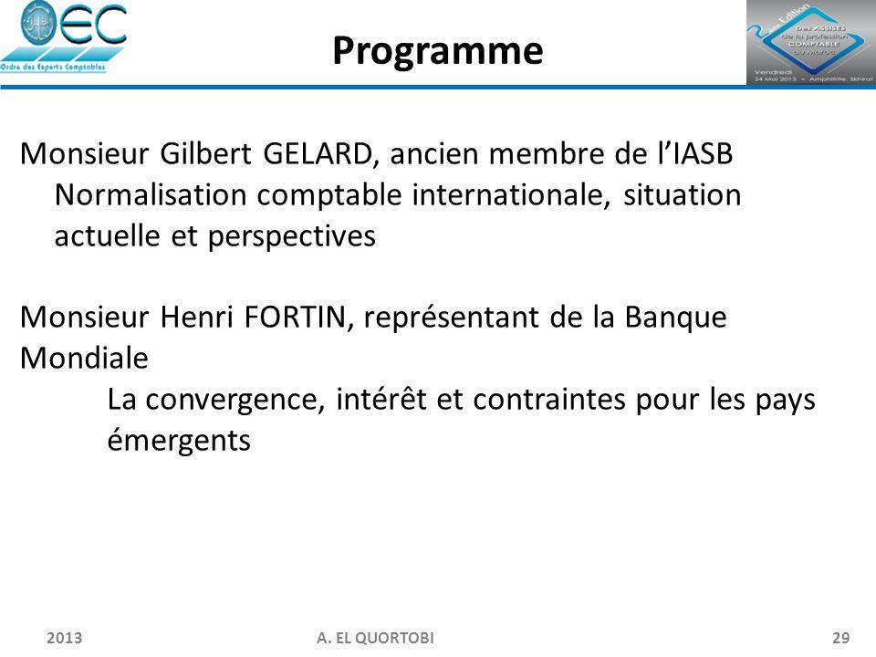 2013 A. EL QUORTOBI29 Monsieur Gilbert GELARD, ancien membre de l'IASB Normalisation comptable internationale, situation actuelle et perspectives Mons