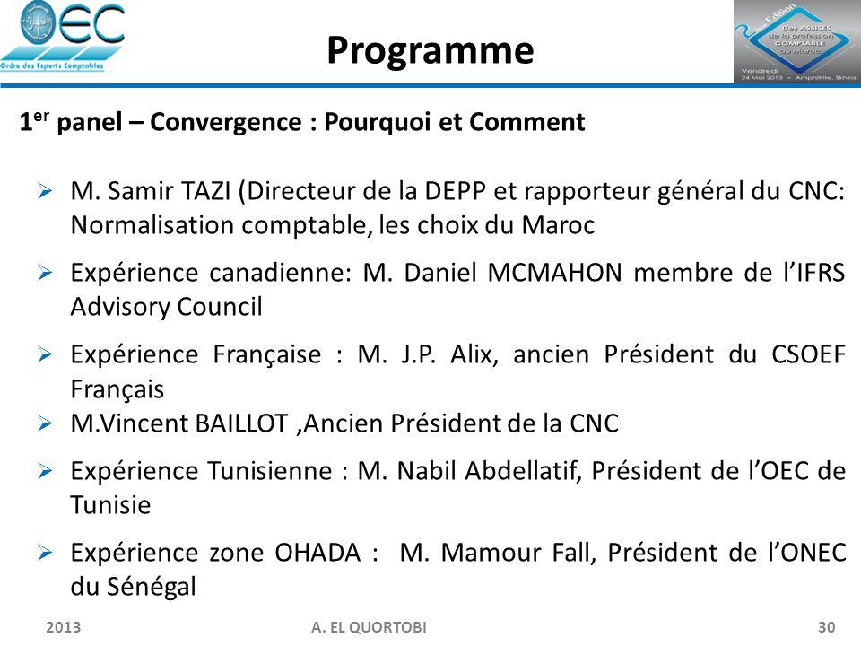 2013 A. EL QUORTOBI30 1 er panel – Convergence : Pourquoi et Comment  M. Samir TAZI (Directeur de la DEPP et rapporteur général du CNC: Normalisation