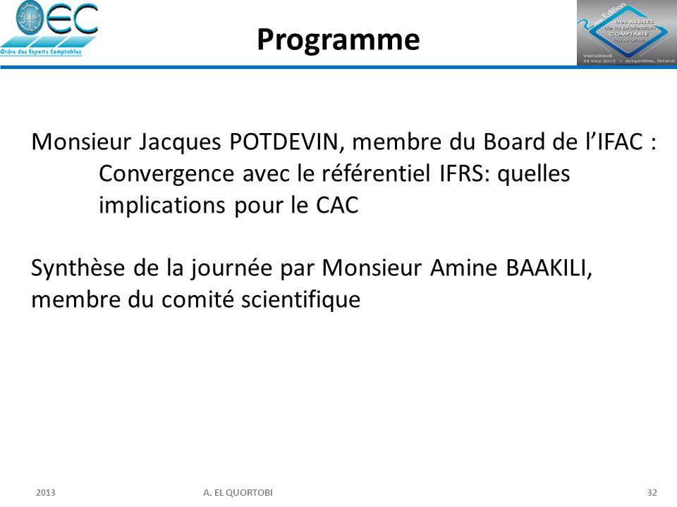 2013 A. EL QUORTOBI32 Monsieur Jacques POTDEVIN, membre du Board de l'IFAC : Convergence avec le référentiel IFRS: quelles implications pour le CAC Sy