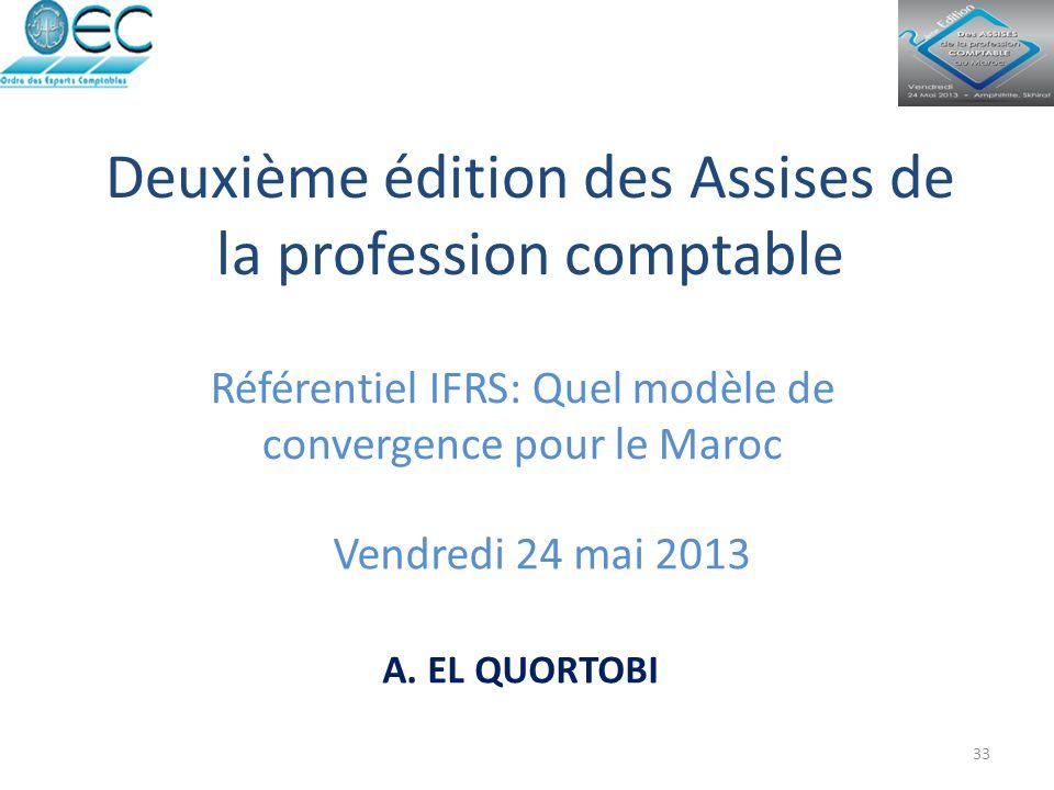 Deuxième édition des Assises de la profession comptable Référentiel IFRS: Quel modèle de convergence pour le Maroc Vendredi 24 mai 2013 33 A. EL QUORT