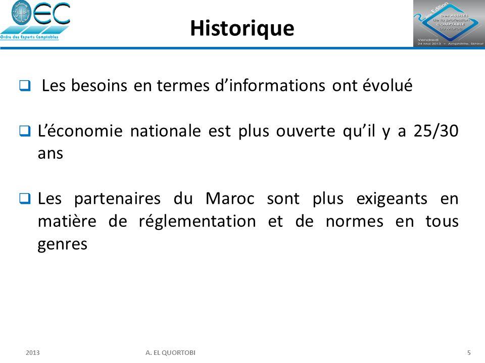 2013 A. EL QUORTOBI5  Les besoins en termes d'informations ont évolué  L'économie nationale est plus ouverte qu'il y a 25/30 ans  Les partenaires d