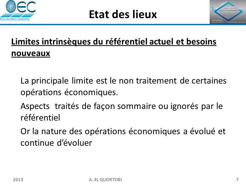 2013 A. EL QUORTOBI7 Limites intrinsèques du référentiel actuel et besoins nouveaux La principale limite est le non traitement de certaines opérations