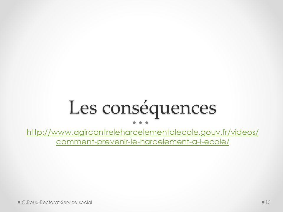 Les conséquences http://www.agircontreleharcelementalecole.gouv.fr/videos/ comment-prevenir-le-harcelement-a-l-ecole/ 13C.Roux-Rectorat-Service social