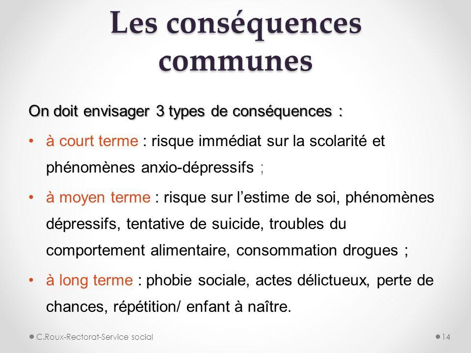 Les conséquences communes On doit envisager 3 types de conséquences : à court terme : risque immédiat sur la scolarité et phénomènes anxio-dépressifs