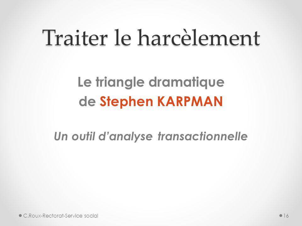 Traiter le harcèlement Le triangle dramatique de Stephen KARPMAN Un outil d'analyse transactionnelle C.Roux-Rectorat-Service social16