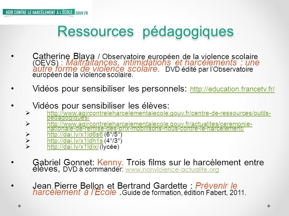 Ressources pédagogiques Catherine Blaya / Observatoire européen de la violence scolaire (OEVS) : Maltraitances, intimidations et harcèlements : une au