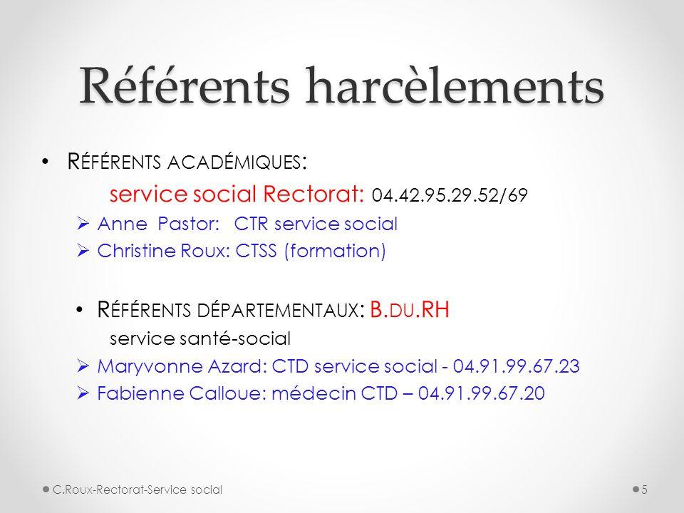 Référents harcèlements R ÉFÉRENTS ACADÉMIQUES : service social Rectorat: 04.42.95.29.52/69  Anne Pastor: CTR service social  Christine Roux: CTSS (f