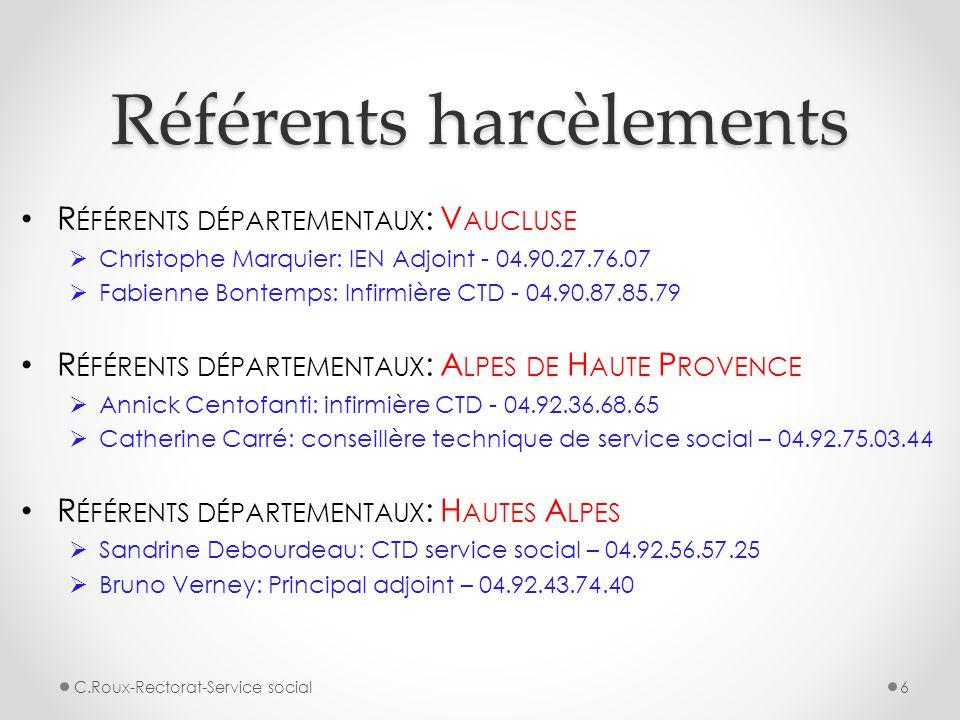 R ÉFÉRENTS DÉPARTEMENTAUX : V AUCLUSE  Christophe Marquier: IEN Adjoint - 04.90.27.76.07  Fabienne Bontemps: Infirmière CTD - 04.90.87.85.79 R ÉFÉRE