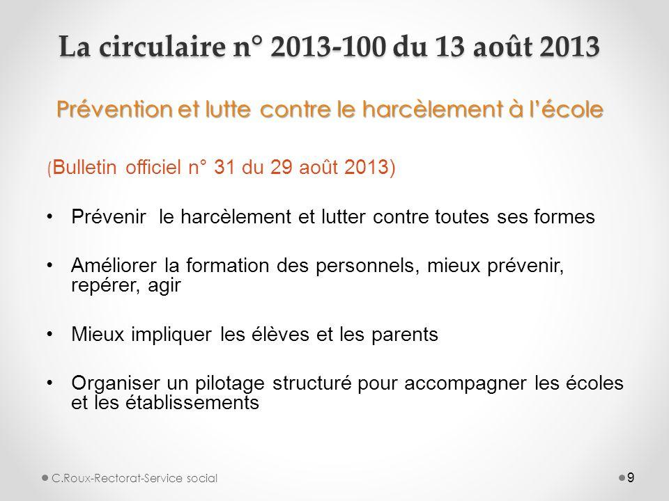 9 La circulaire n° 2013-100 du 13 août 2013 Prévention et lutte contre le harcèlement à l'école ( Bulletin officiel n° 31 du 29 août 2013) Prévenir le