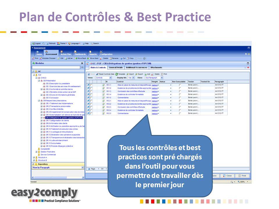 Plan de Contrôles & Best Practice Tous les contrôles et best practices sont pré chargés dans l'outil pour vous permettre de travailler dès le premier jour