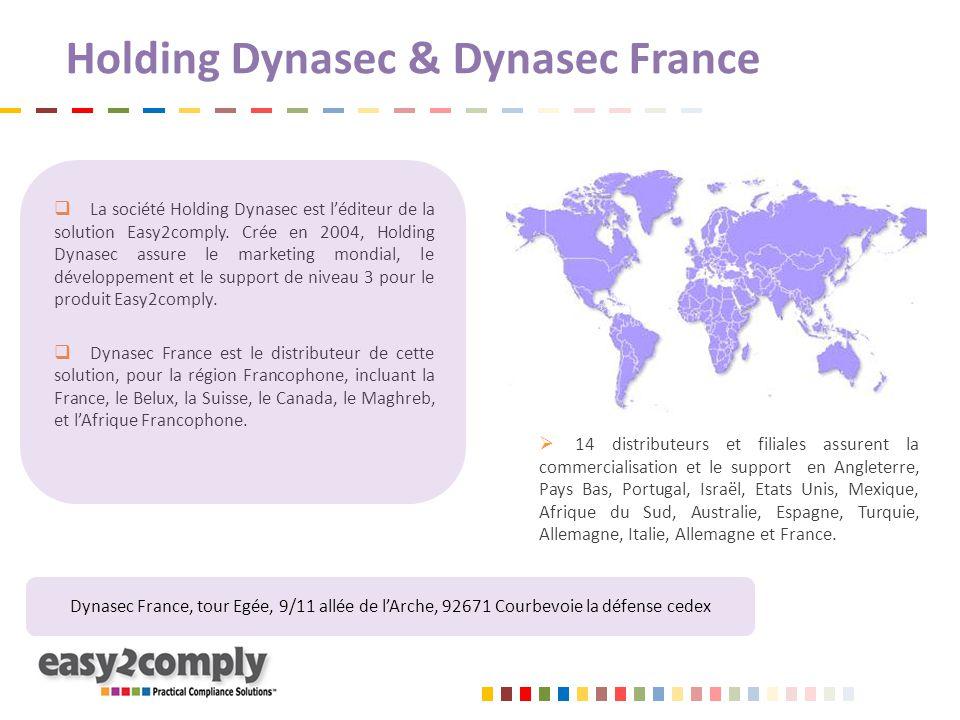 Holding Dynasec & Dynasec France  La société Holding Dynasec est l'éditeur de la solution Easy2comply. Crée en 2004, Holding Dynasec assure le market