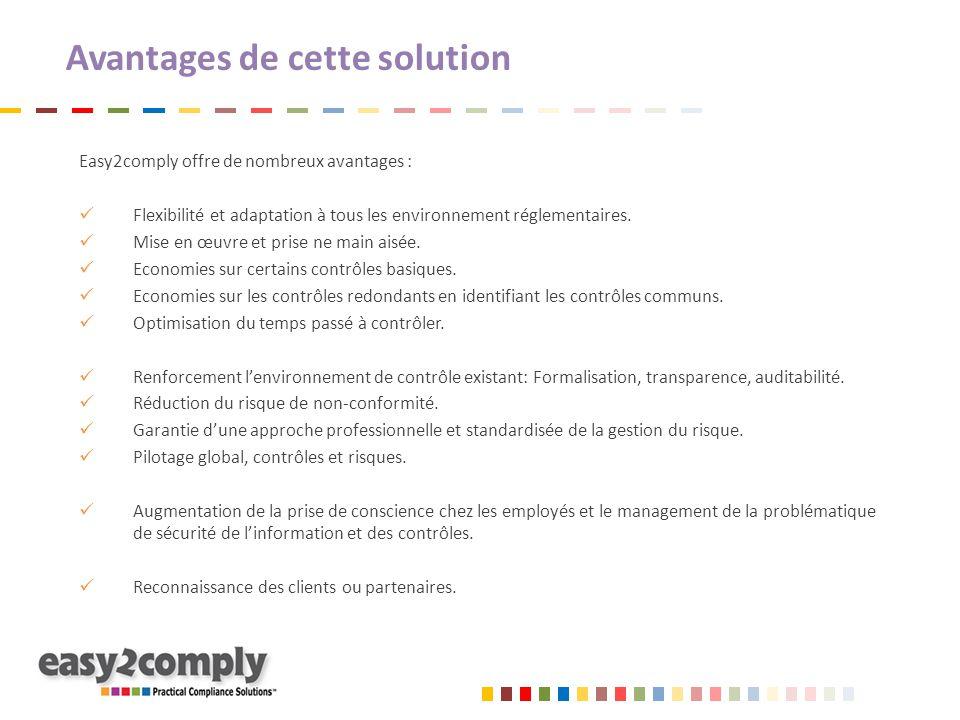Avantages de cette solution Easy2comply offre de nombreux avantages : Flexibilité et adaptation à tous les environnement réglementaires. Mise en œuvre