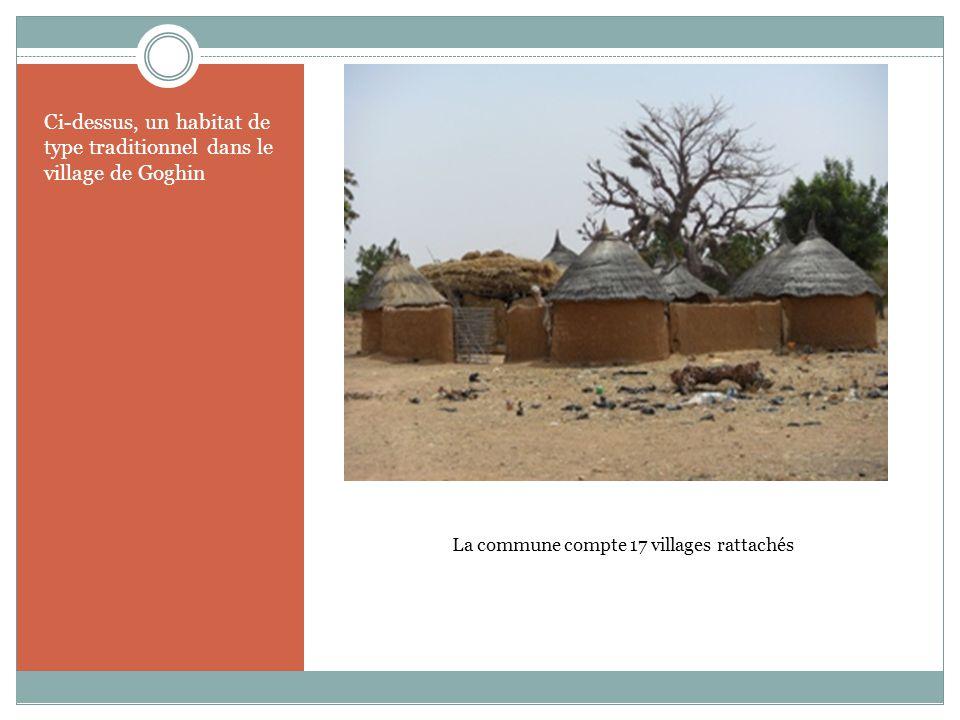 La commune compte 17 villages rattachés Ci-dessus, un habitat de type traditionnel dans le village de Goghin